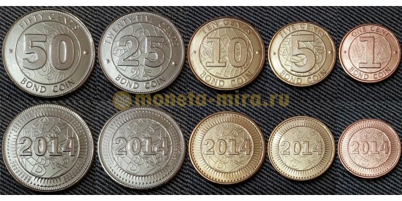 Набор из 5 монет Зимбабве 2014 г. 1,5,10,25 и 50 центов