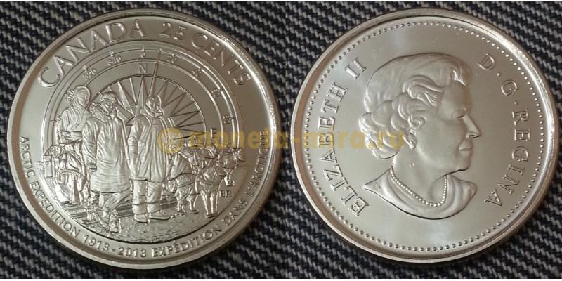 25 центов Канады 2013 г. Арктическая экспедиция - матовая