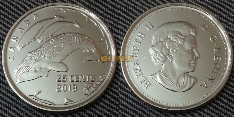 25 центов Канады 2013 г. Гренландский кит - глянцевая