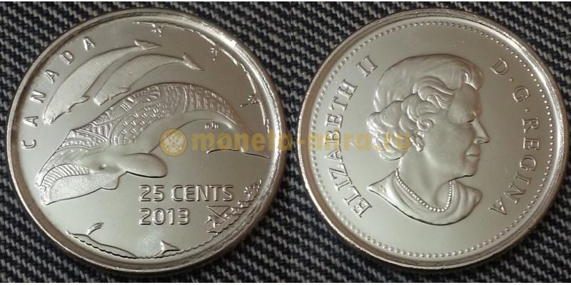 25 центов Канады 2013 г. Гренландский кит - матовая