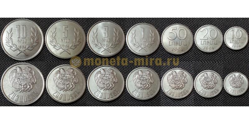 Набор из 7 монет Грузии 1994 г. 1,3,5,10 тетри и 10,20,50 лари