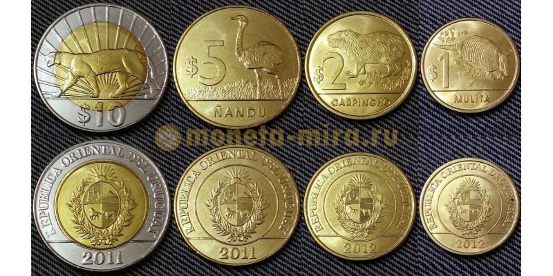 Набор из 4 монет Уругвая 2011-2012 гг.. 1,2,5,10 песо - животные