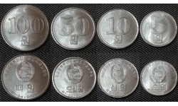 Набор из 4 монет Северной Кореи 2005 г. 5,10,50,100 вон