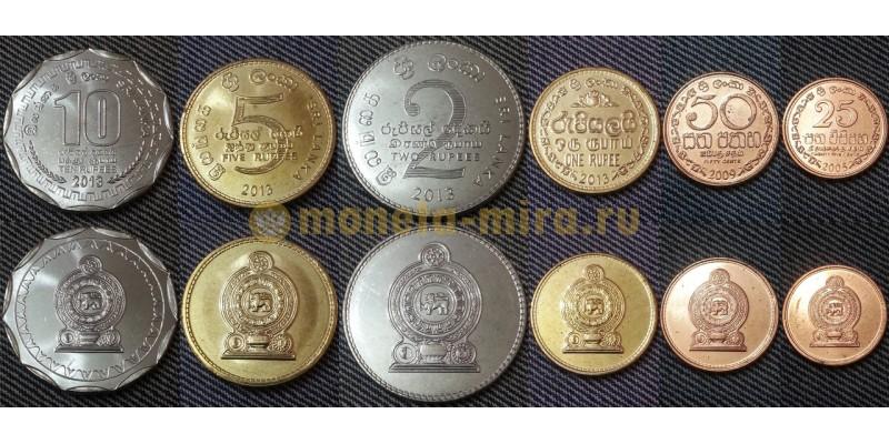 Набор из 6 монет Шри Ланки 2005-2013 гг.. 1,2,5,10 руфий и 25,50 центов