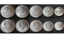 Набор из 5 монет Индонезии 1998-2008 гг.. 25,50,100,200,500 рупий