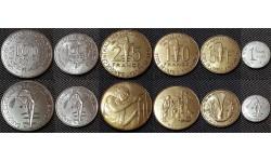 Набор из 6 монет КФА 2001-2012 гг. 1,5,10,25,50,100 франков
