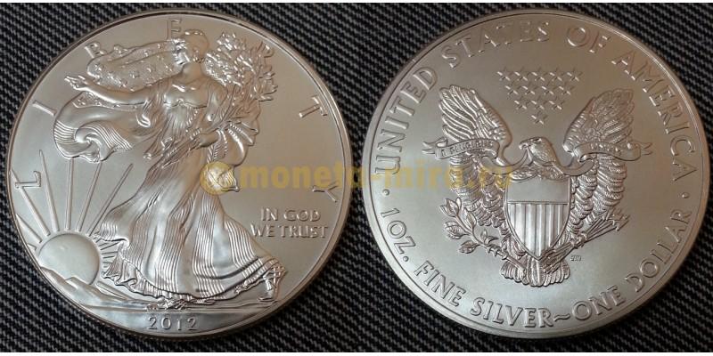1 доллар США 2012 г. Шагающая свобода, в капсуле - серебро 999 пр.