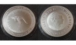 1 доллар Австралии 2019 г. Кенгуру, серебро 999 пр.