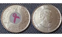 25 центов Канады 2006 г. Розовая лента, цветная