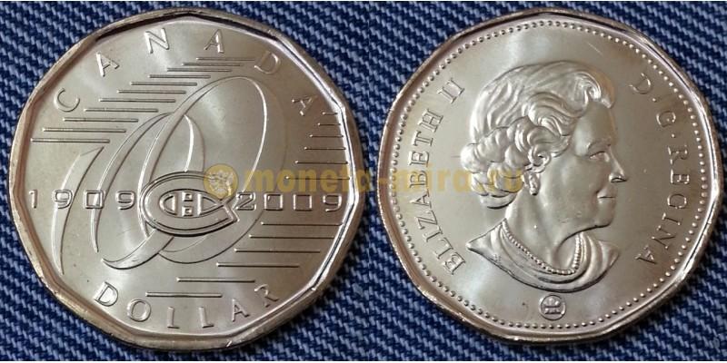 1 доллар Канады 2009 г. 100-летие хоккейного клуба Монреаль Канадиенс