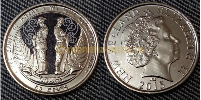 50 центов Новой Зеландии 2015 г. - 100 летие десанта ANZAC в Галлиполи