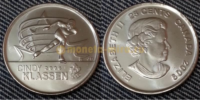 25 центов Канады 2009 г. Конькобежка Синди Классен