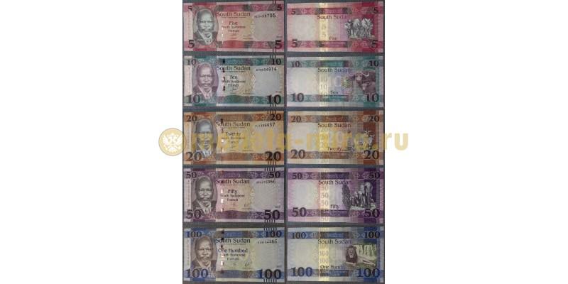 Набор из 5 банкнот Южного Судана 2017 г. 5,10,20,50,100 фунтов