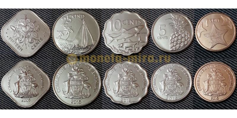 Набор из 5 монет Багамских островов 2005-2015 гг. 1,5,10,25,50 центов