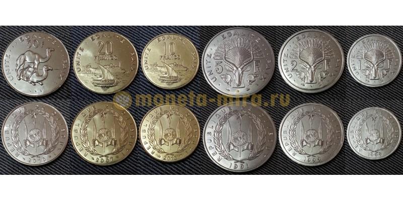 Набор из 6 монет Джибути 1991-2010 гг. 1,2,5,10,20 и 50 франков