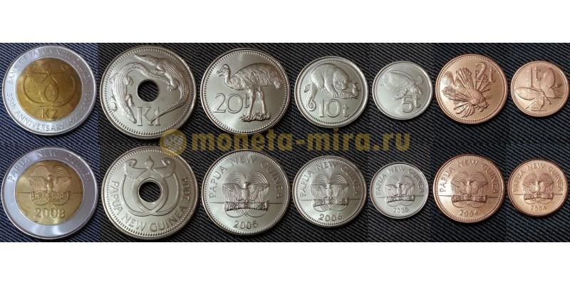 Набор из 7 монет Папуа Новой Гвинем 2004-2008 гг. 1,2,5,10,20 тоа и 1,2 кина