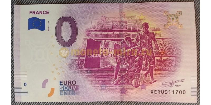 Официальная банкнота 0 евро - Франция чемпионы мира по футболу 2018