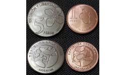 Набор из 2 монет Аргентины 2017 г., 1 и 5 песо - серия Деревья Аргентины - Джакаранда и Прозопис