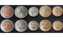 Набор из 5 монет Руанды 2007-2011 г. 5,10,20,50,100 франков - трава, кофе, хлебное дерево, маис
