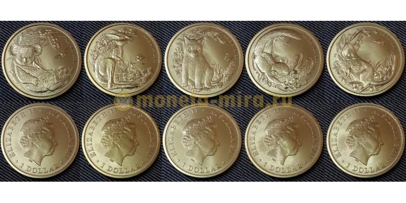 Набор из 5 монет Австралии 1 доллар 2011 г. Детеныши животных, четвертый выпуск