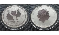 50 центов Австралии 2017 г. - год петуха, серебро 999 пр.