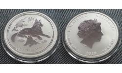 50 центов Австралии 2018 г. - год собаки, серебро 999 пр.