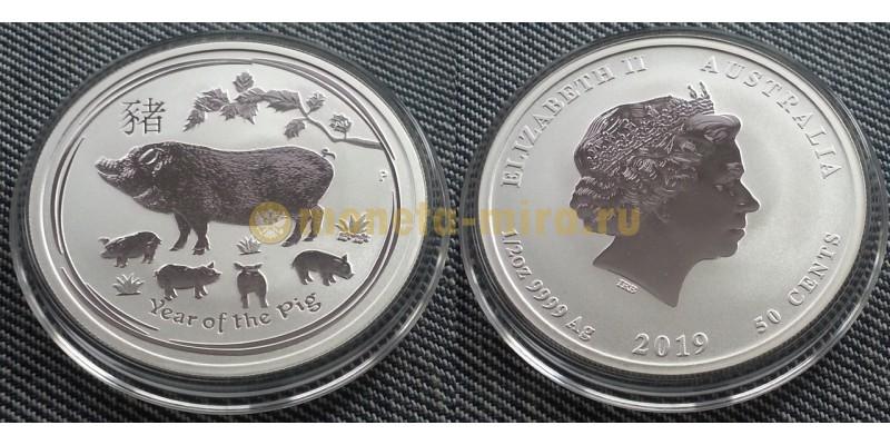50 центов Австралии 2019 г. - год свиньи, серебро 999 пр.