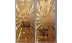Сувенирная пластиковая банкнота 500 рублей 2020 г. EURO 2020 - золотистая