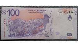 100 песо Аргентины 2018 г. серия животные - олень