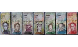 Набор из 7 банкнот Венесуэлы 2016-2017 гг.. серия животные