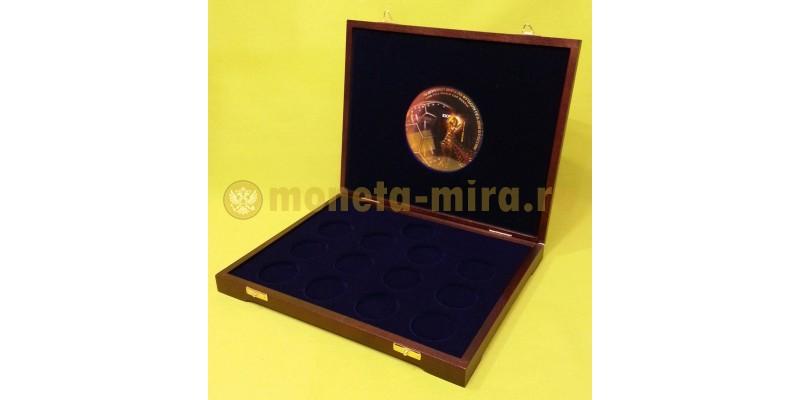 Деревянный футляр для 1 золотой и 12 серебряных монет ЧМ 2018
