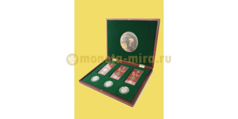 Футляр деревянный для 3 монет 25 р. в капсулах и 3 монет 25 р. в блистере ФИФА 2018. Кубок