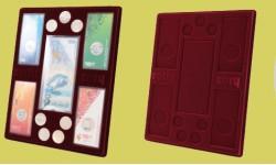 Планшет для 1 банкноты в чехле, 4 монет в блистере и 7 монет Сочи-2014, без капсул