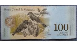 100 боливаров Венесуэлы 2017 г. Огненный чиж
