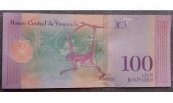 100 боливаров Венесуэлы 2018 г. Обезьяна северный паук