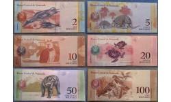 Набор из 6 банкнот Венесуэлы 2018 г. 2,5,10,20,50,100 боливаров, серия животные
