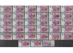 Набор официальных сувенирных банкнот 0 евро к ЧМ 2018 - 32 штуки