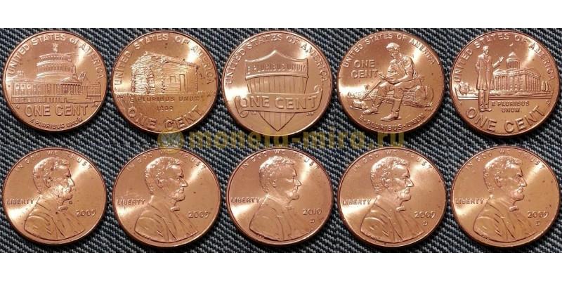 Набор из 5 монет США 2005 г.  1 цент - 200-летие Авраама Линкольна