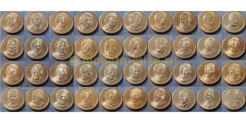 Набор из 39 монет США 2005-2018 гг.. 1 доллар -  президенты Америки