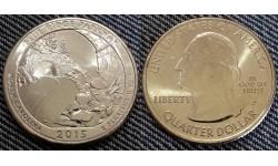 25 центов США 2015 г. Национальный парк Блю Ридж, №28 двор D