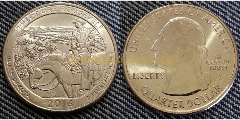 25 центов США 2016 г. Национальный парк Теодора Рузвельта, №34 двор D