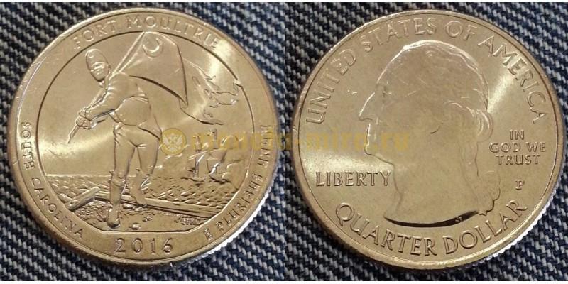 25 центов США 2016 г. Национальный парк Форт Молтри, №35 двор D
