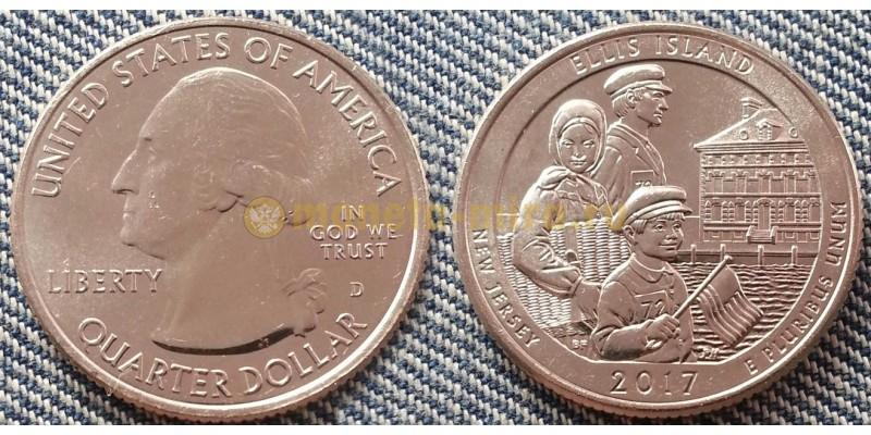 25 центов США 2017 г. Национальный монумент острова Эллис, №39 двор D