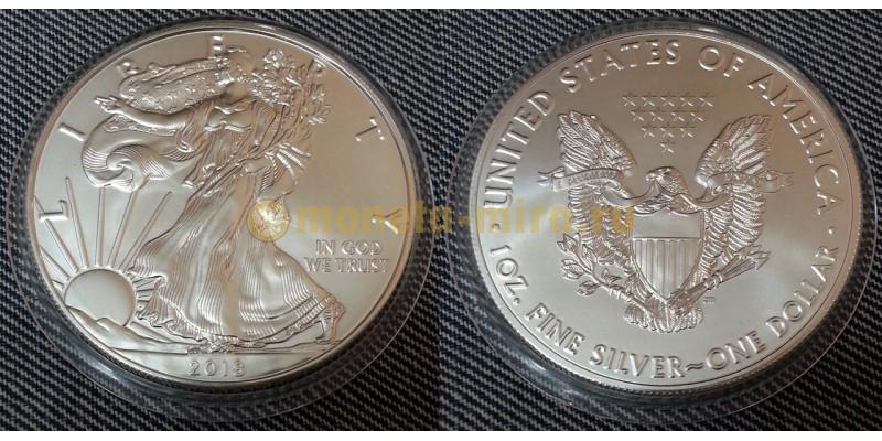 1 доллар США 2018 г. Шагающая свобода - серебро 999 пр.