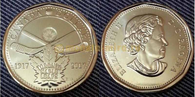 1 доллар Канады 2017 года - 100 лет хоккейному клубу Toronto Maple Leafs