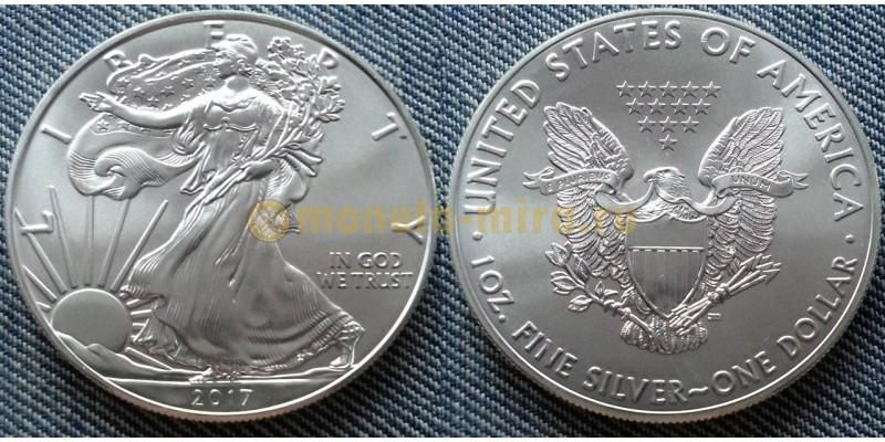 1 доллар США 2017 г. Шагающая свобода, в капсуле - серебро 999 пр.
