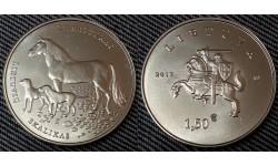 1,5 евро Литвы 2017 год Литовская гончая и жимайтская лошадь