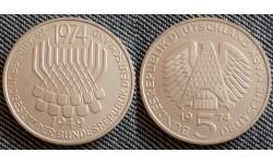 5 марок ФРГ 1974 г. Конституция ФРГ - серебро 625 пр.