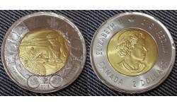 2 доллара Канады 2015 г. 100 лет стихотворению На полях Фландрии