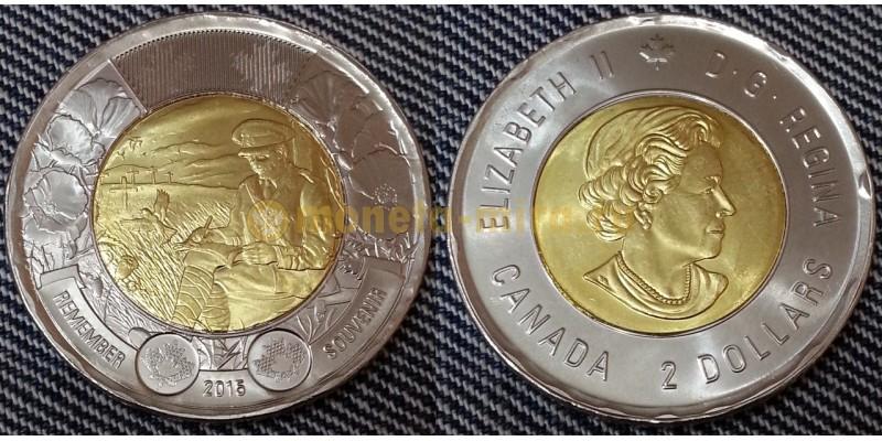 2 доллара Канады 2015 г. биметалл - 100 лет стихотворению На полях Фландрии